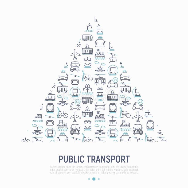 Openbaar vervoerconcept in driehoek stock illustratie