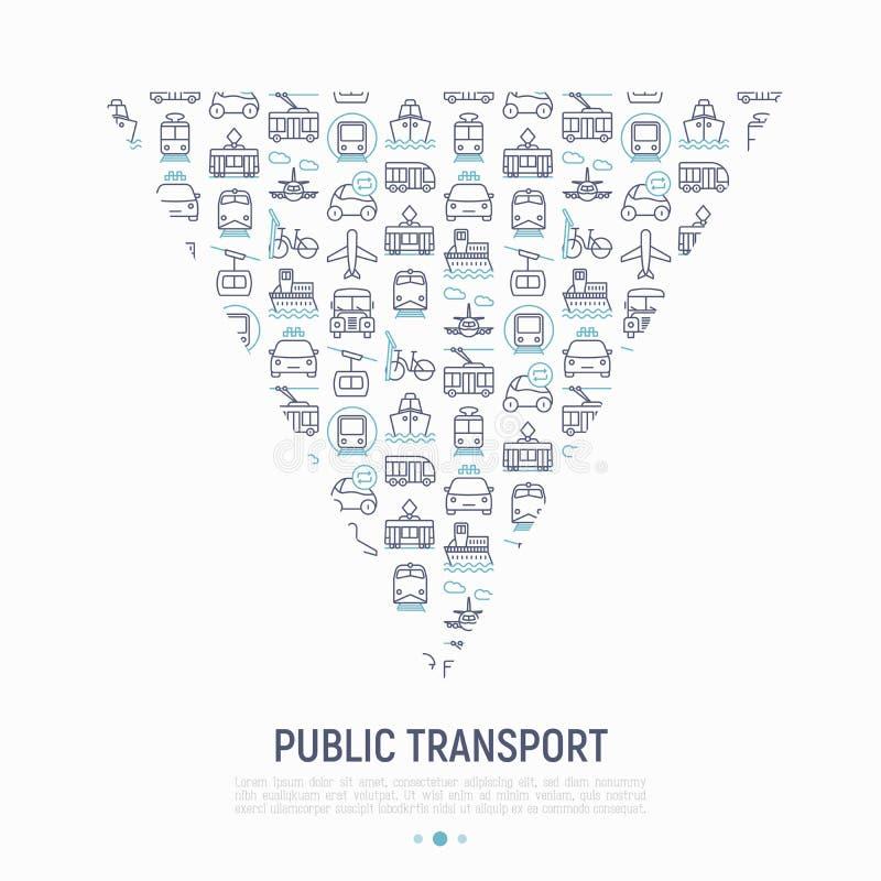 Openbaar vervoerconcept in driehoek vector illustratie