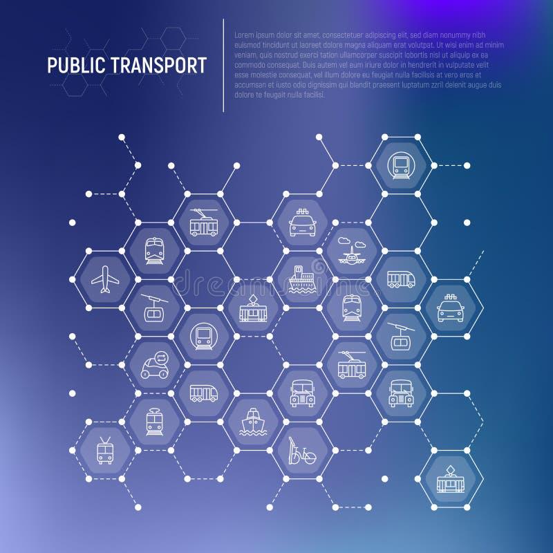Openbaar vervoerconcept in honingraten vector illustratie