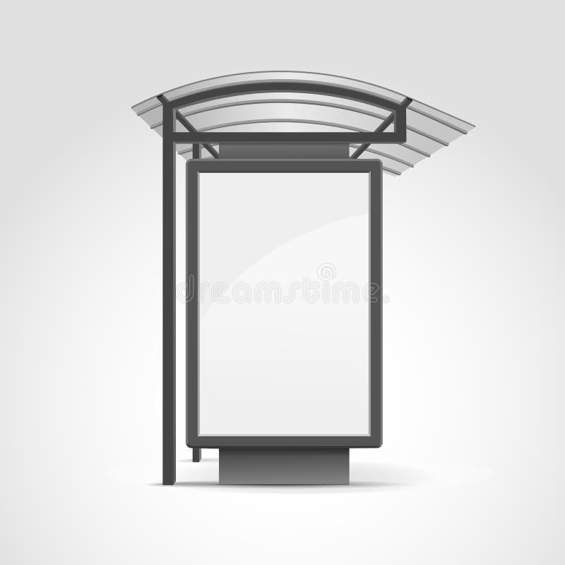 Openbaar Vervoereinde met Aanplakbord royalty-vrije illustratie