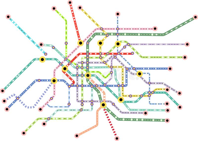 Openbaar vervoerkaart van een grote stad, fictief vectorart. stock illustratie