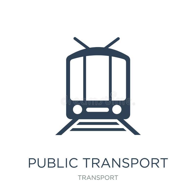 openbaar vervoerpictogram in in ontwerpstijl openbaar die vervoerpictogram op witte achtergrond wordt geïsoleerd openbaar vervoer stock illustratie