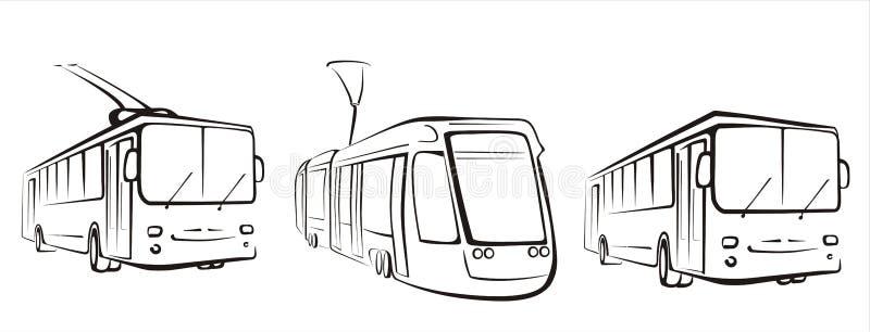 Openbaar vervoerreeks symbolen royalty-vrije illustratie