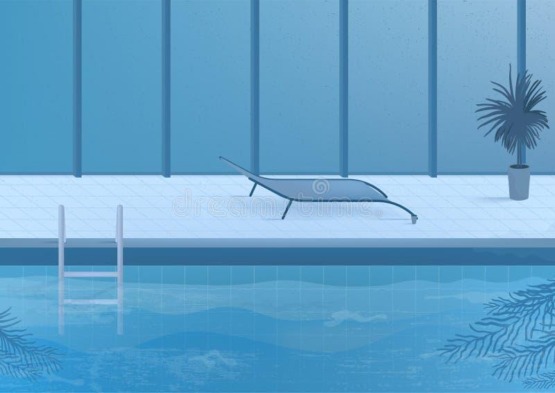 Openbaar zwembad binnen binnenland Vector illustratie royalty-vrije illustratie