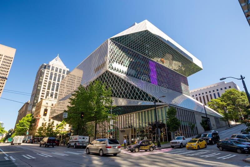 Openbare Bibliotheek in Seattle stock afbeelding