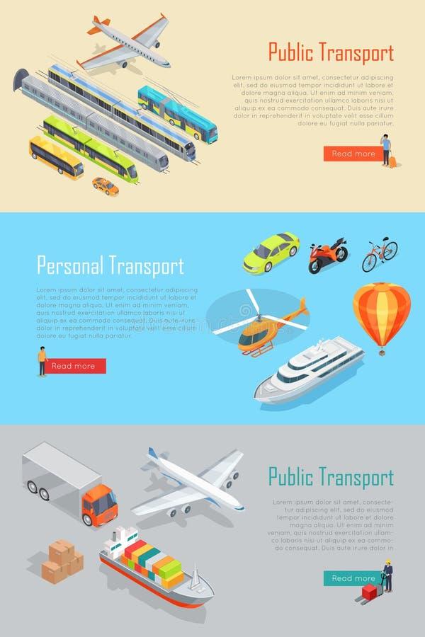 Openbare en Persoonlijke Geplaatste Vervoer Vectorbanners vector illustratie