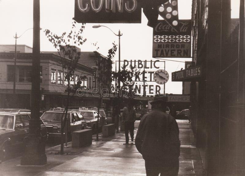 Openbare Marktcentrum in Seattle van de binnenstad, 1982, de V.S. stock afbeeldingen