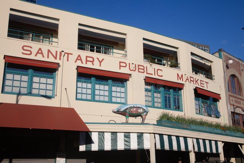 Openbare marktteken, met varken op snoekenplaats, Seattle royalty-vrije stock afbeeldingen