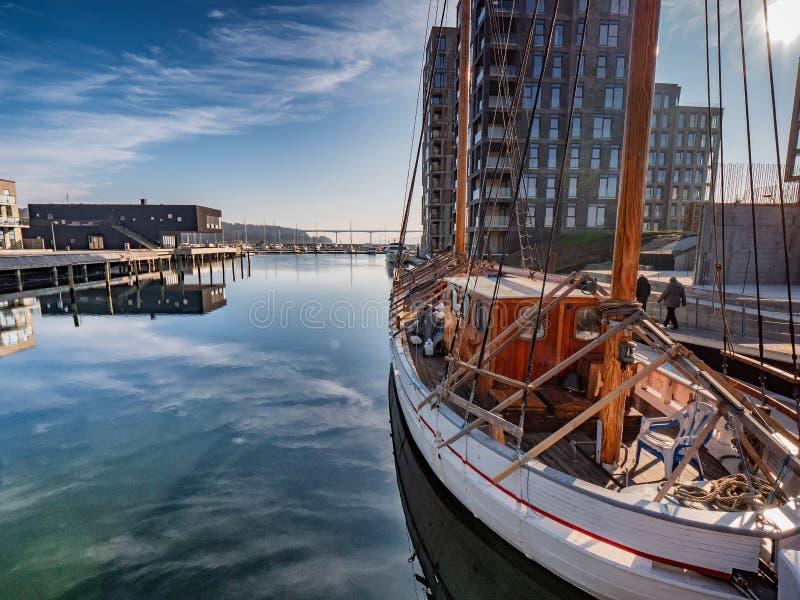 Openbare open haven in Vejle, Denemarken royalty-vrije stock fotografie