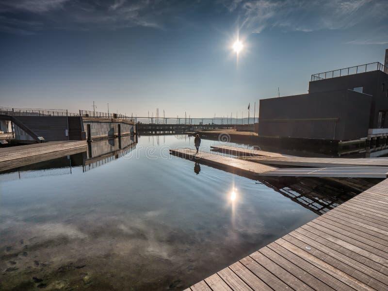 Openbare open haven in Vejle, Denemarken stock afbeelding