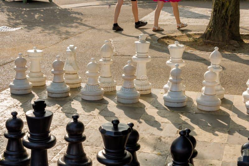 Openbare schaakspelen in Bastionenpark, Genève royalty-vrije stock fotografie
