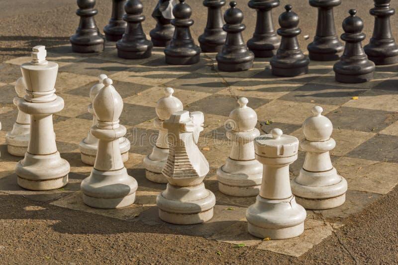 Openbare schaakspelen in Bastionenpark, Genève royalty-vrije stock afbeeldingen