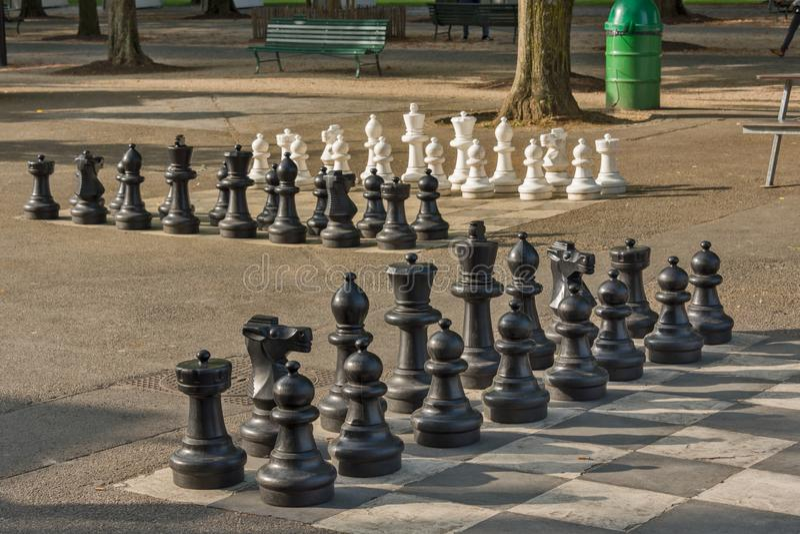 Openbare schaakspelen in Bastionenpark, Genève royalty-vrije stock foto