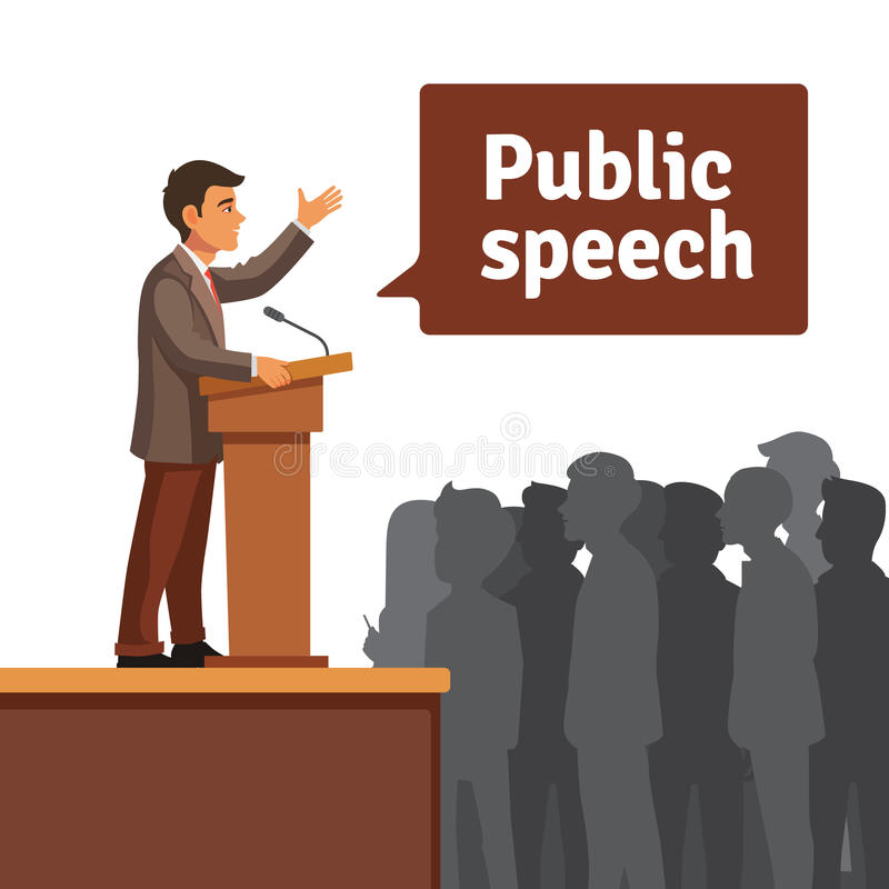 Openbare spreker die aan verzameld publiek spreken vector illustratie