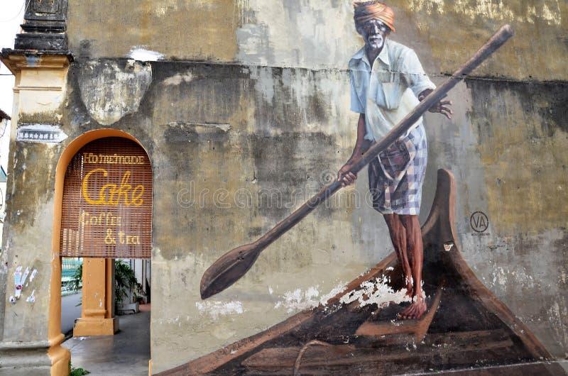 Openbare straatkunst Indische Boatman in Georgetown, Penang stock foto's