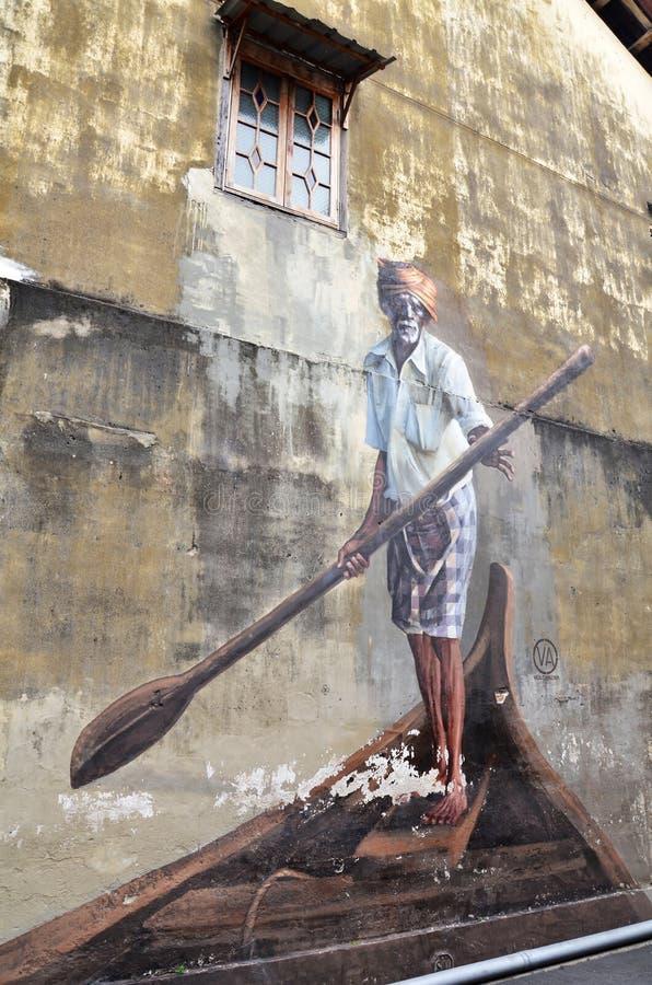 Openbare straatkunst Indische Boatman in Georgetown, Penang stock foto