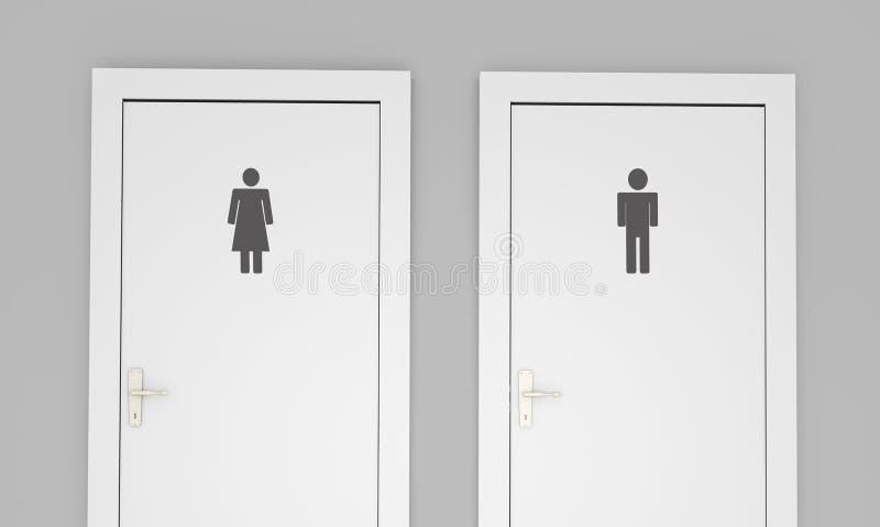 Openbare toiletdeuren stock afbeelding