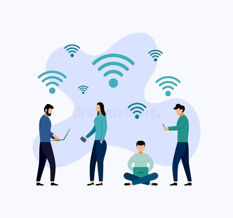Openbare vrije wifihotspot streek draadloze verbinding, bedrijfsconcept stock illustratie