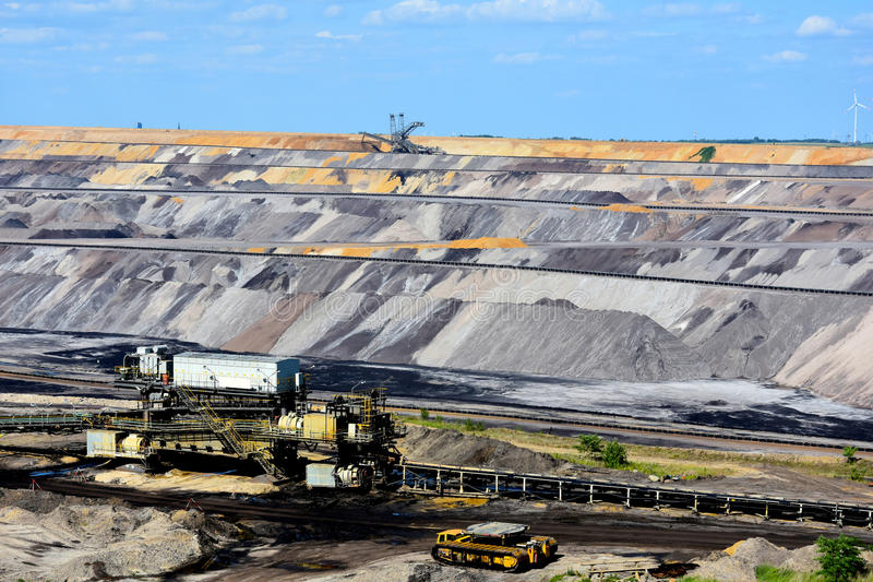 Opencast mining. Brown coal open cast mining in Garzweiler, Germany royalty free stock photos
