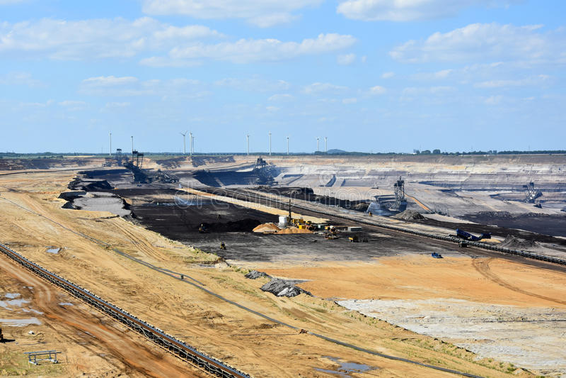 Opencast mining. Brown coal open cast mining in Garzweiler, Germany stock photo