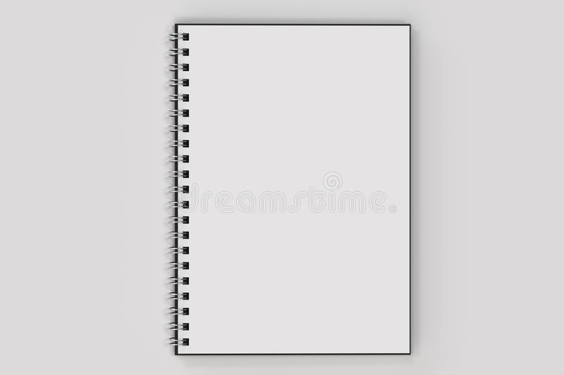Opend notebook spiral bound on white background. Opend blank notebook with black cover and metal spiral bound on white background. Business or education mockup vector illustration