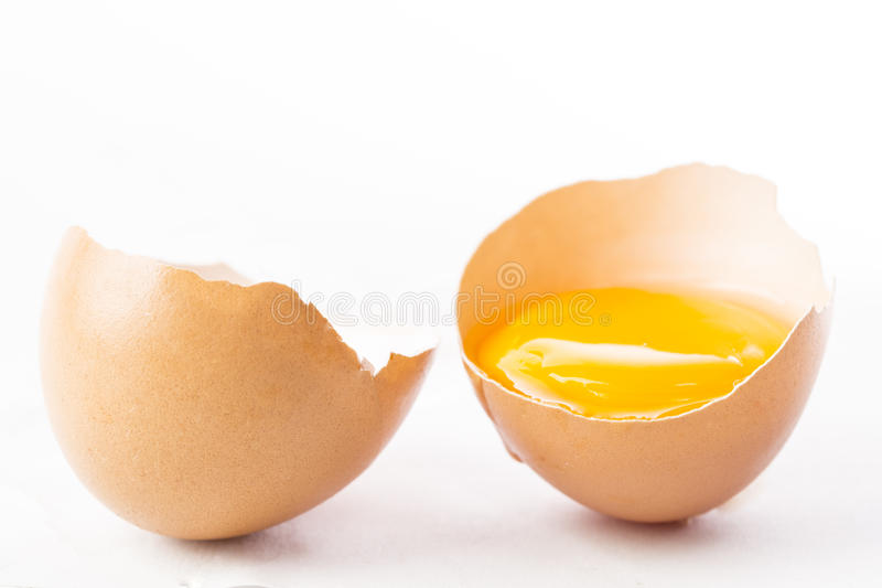 Opend Farm fresh egg isolated placed stock photos