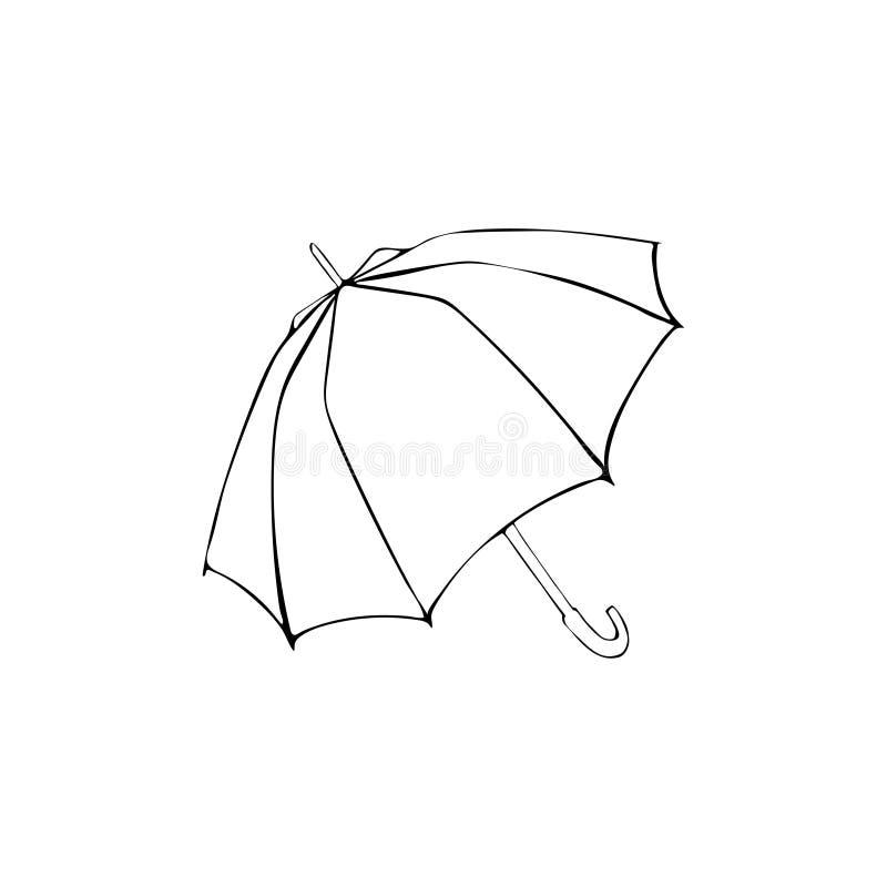 Openedparasolowy nakreślenie Wektorowa ręki drawnilustracja czerni element odizolowywający na bielu ilustracji