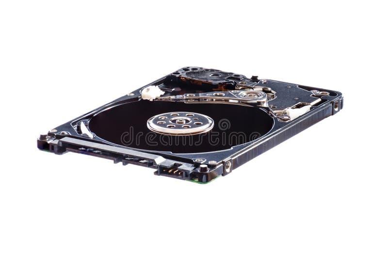 Opened демонтировало жесткий диск от компьютера, hdd с влиянием зеркала белизна изолированная предпосылкой стоковая фотография rf