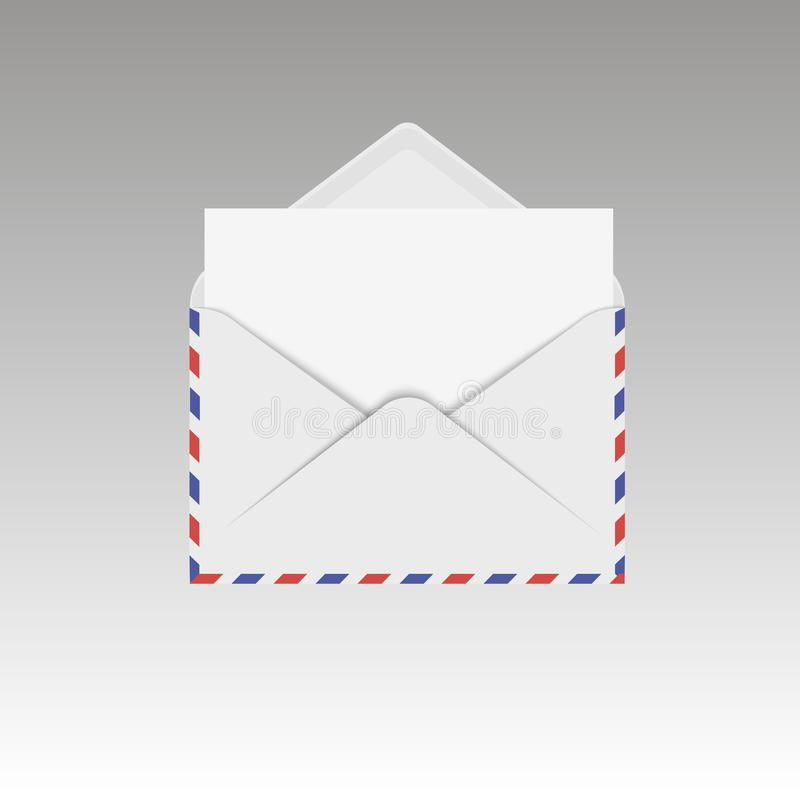 Opened air mail envelope with white sheet. Vector illustration stock illustration