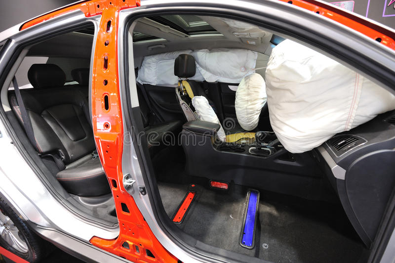 Opened airbag stock photo