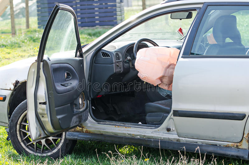 Opened airbag stock image