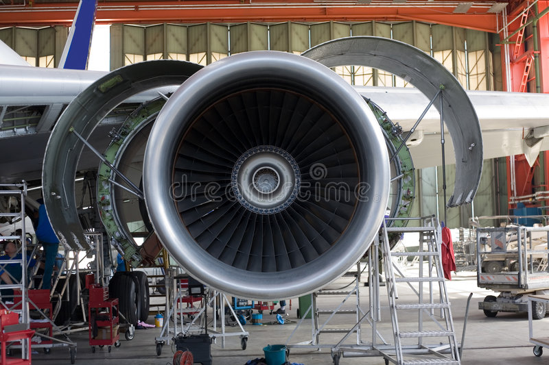 Opened aircraft engine stock photo