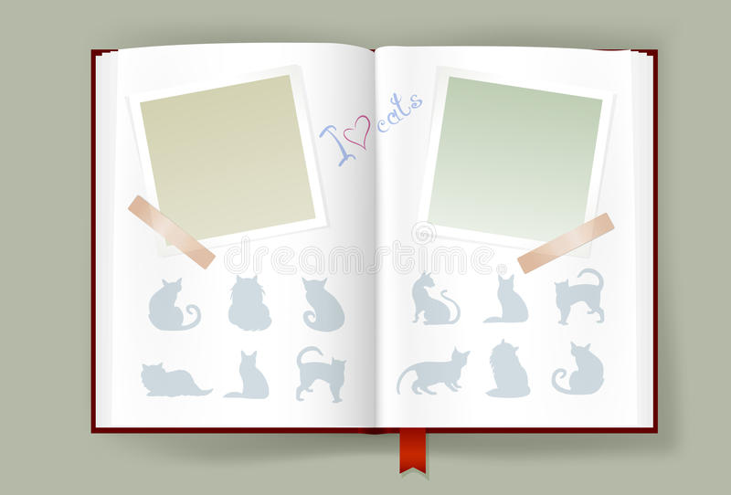 Opened Album With Blank Photo Frames And Cats Silhouettes stock illustration