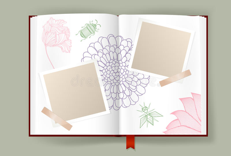 Opened Album With Blank Photo Frames Decorated By Nature Element royalty free illustration