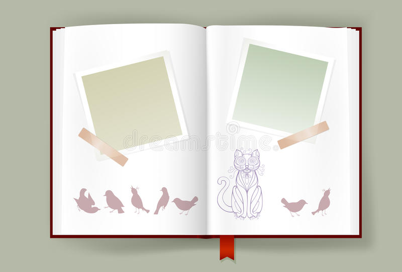 Opened Album With Blank Photo Frames And Funny Cat And Birds stock illustration