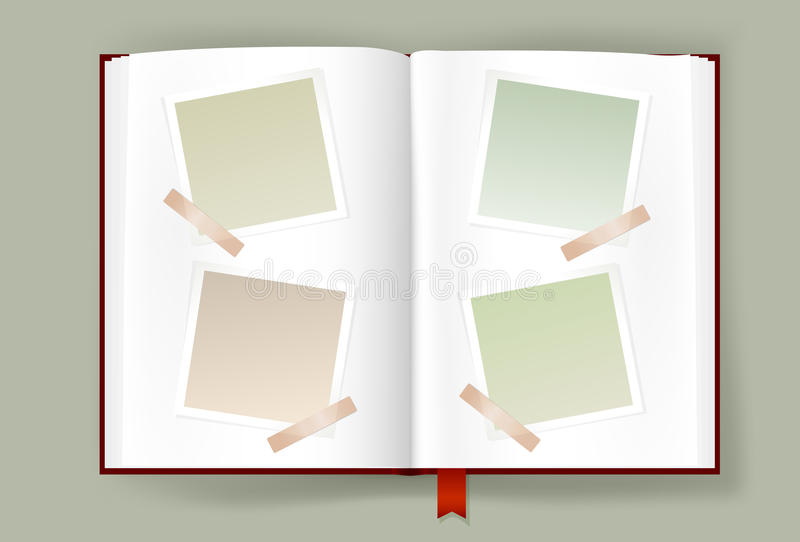 Opened Album With Blank Photo Frames stock illustration