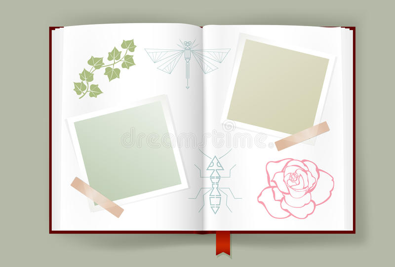 Opened Album With Blank Photo Frames For Summer Memories royalty free illustration