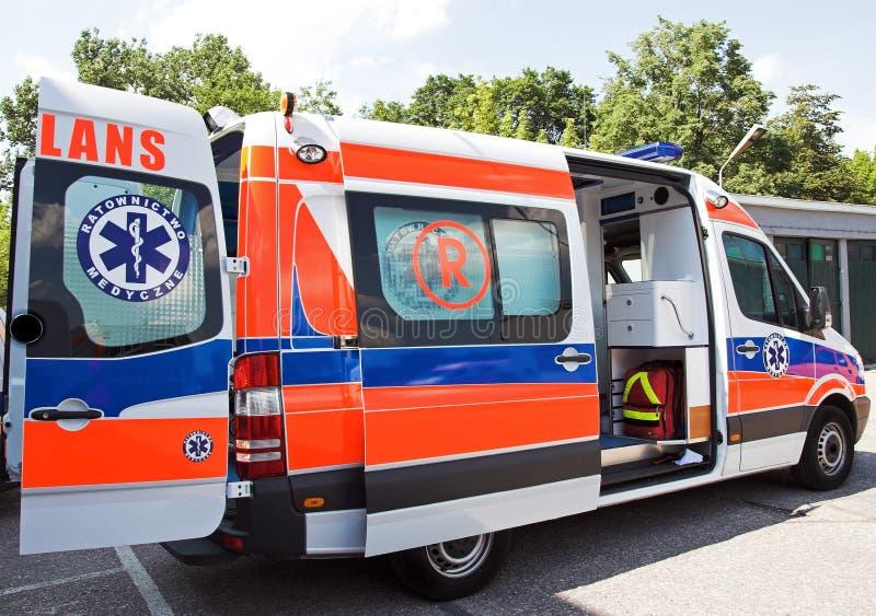 Opened ambulance stock image