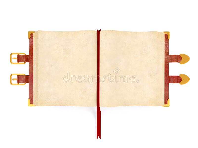 Opened ancient book with red leather cover , blank paper page for mock up royalty free stock photography