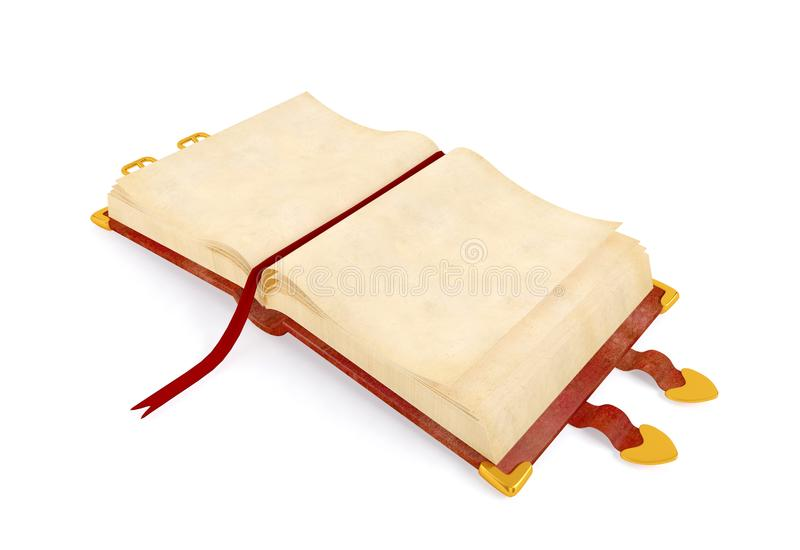 Opened ancient book with red leather cover , blank paper page for mock up royalty free stock photos