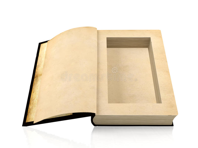 Opened ancient paper book with a hole in a middle for hiding something inside vector illustration