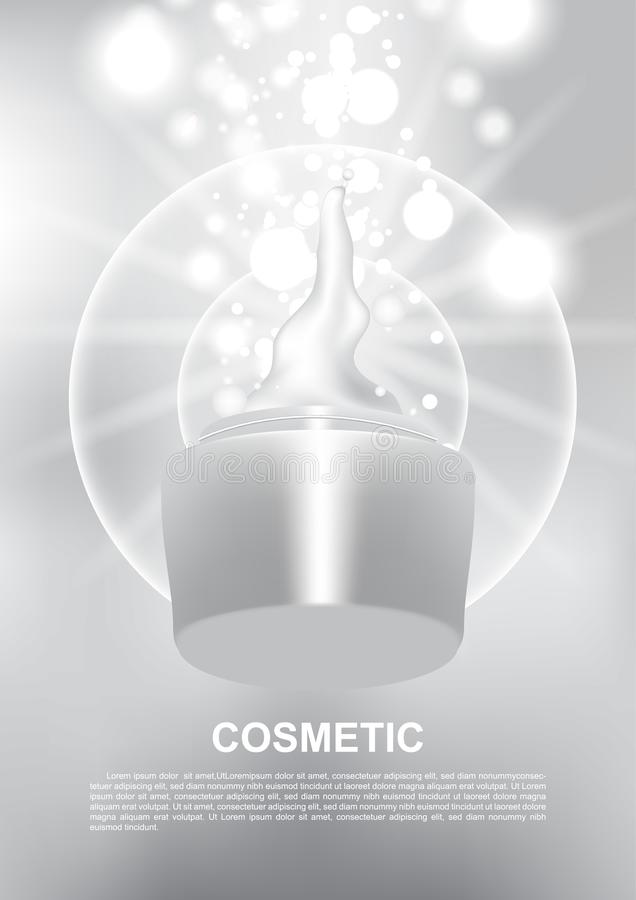 Opened anti-aging cream and shining lights vector cosmetic ads.  stock illustration