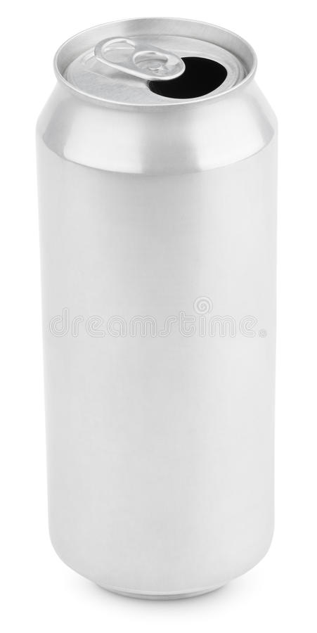 Opened auminum can of beer on white royalty free stock photography