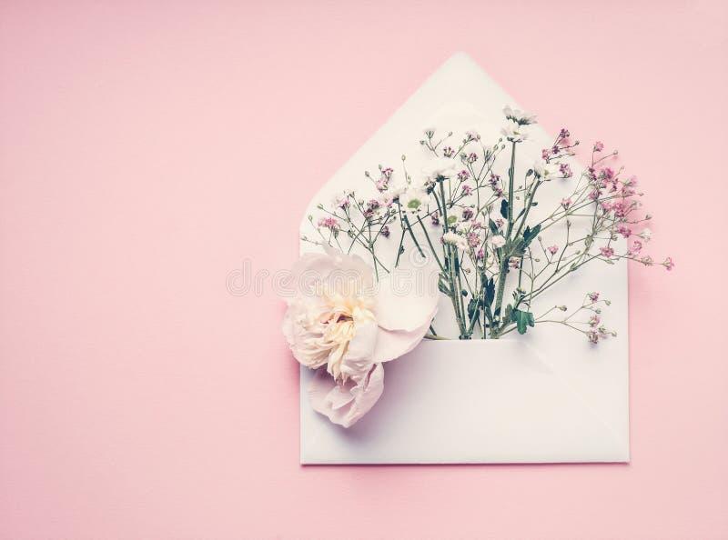 Opened avvolge con la disposizione di fiori sul fondo di rosa pastello, vista superiore, spazio della copia Saluto creativo, invi fotografia stock libera da diritti
