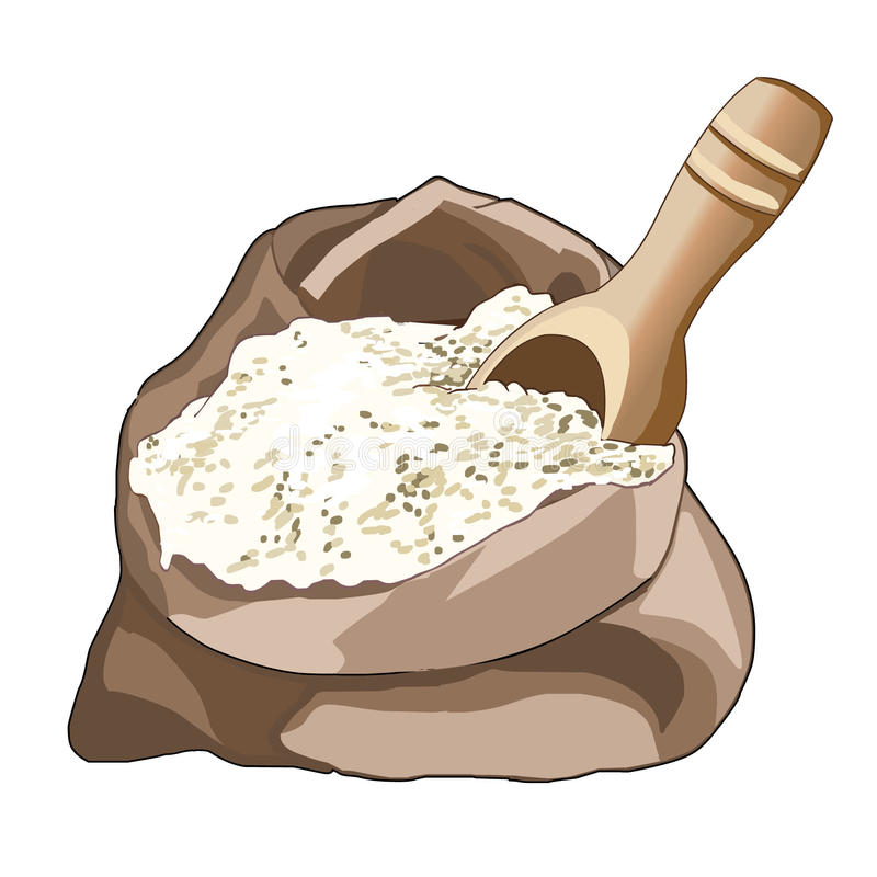 Free Opened Bag Of Flour, Half Full. Wooden Spoon For Loose Products. Storing Flour. Cooking. Vector. Stock Photos - 65316333