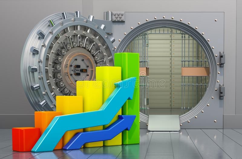 Opened bank vault with growing charts. Analytical banking concept, 3D rendering. Opened bank vault with growing charts. Analytical banking concept, 3D stock illustration