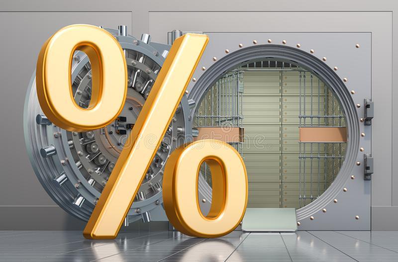 Opened bank vault with percent symbol, financial concept. 3D rendering. Opened bank vault with percent symbol, financial concept. 3D royalty free illustration