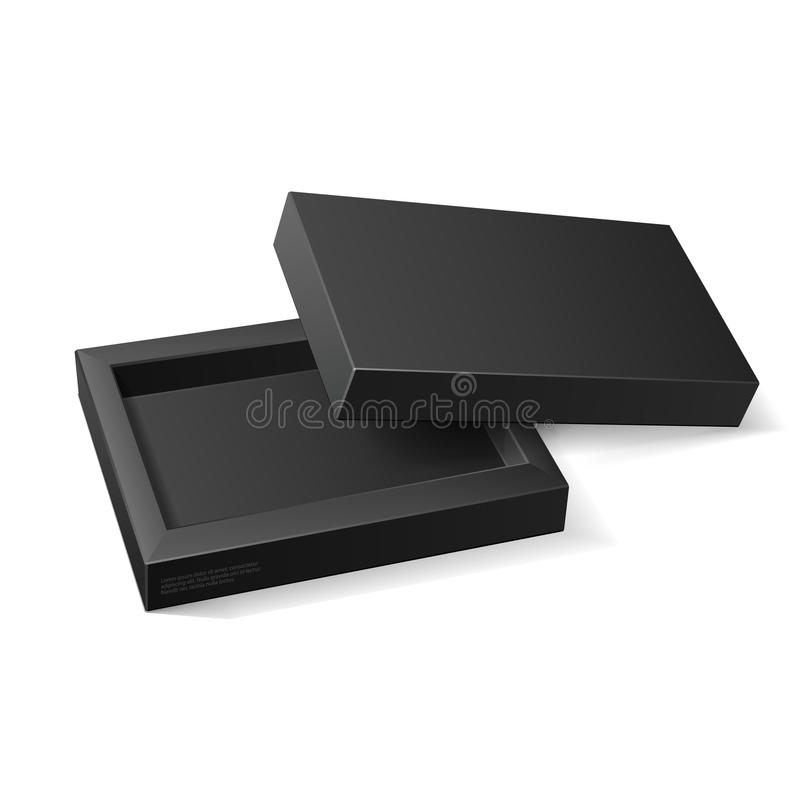 Opened Black Cardboard Package Mock Up Box. Gift Candy. On White Background Isolated. Ready For Your Design. vector illustration