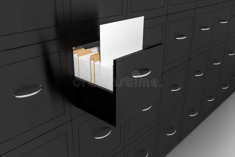 Opened black file cabinet white empty documents illustration royalty free illustration