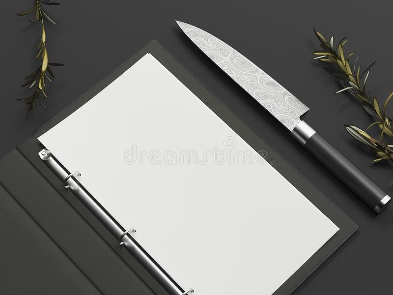 Opened black menu and paper sheet next to knife on black background, 3d rendering. Opened black menu and white paper sheet next to knife on black background, 3d royalty free stock image